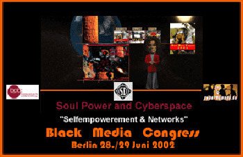 2002 black media congress, soul power and cyberspace poster